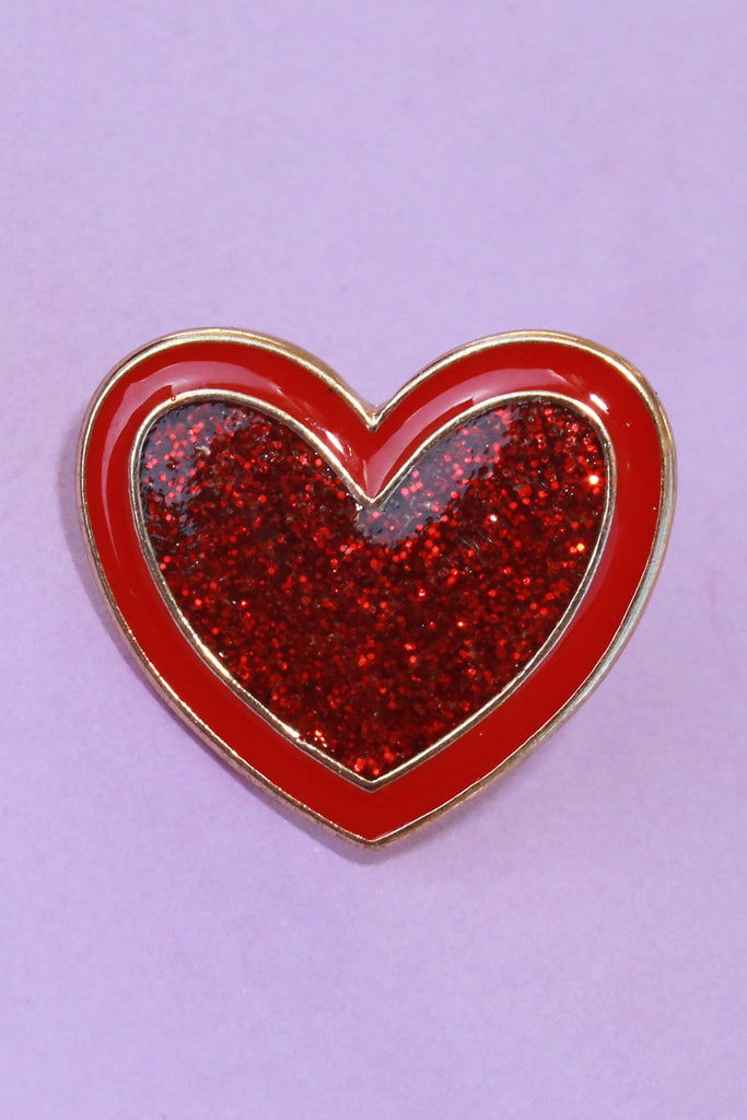 Red Sparkle Heart Lapel Pin