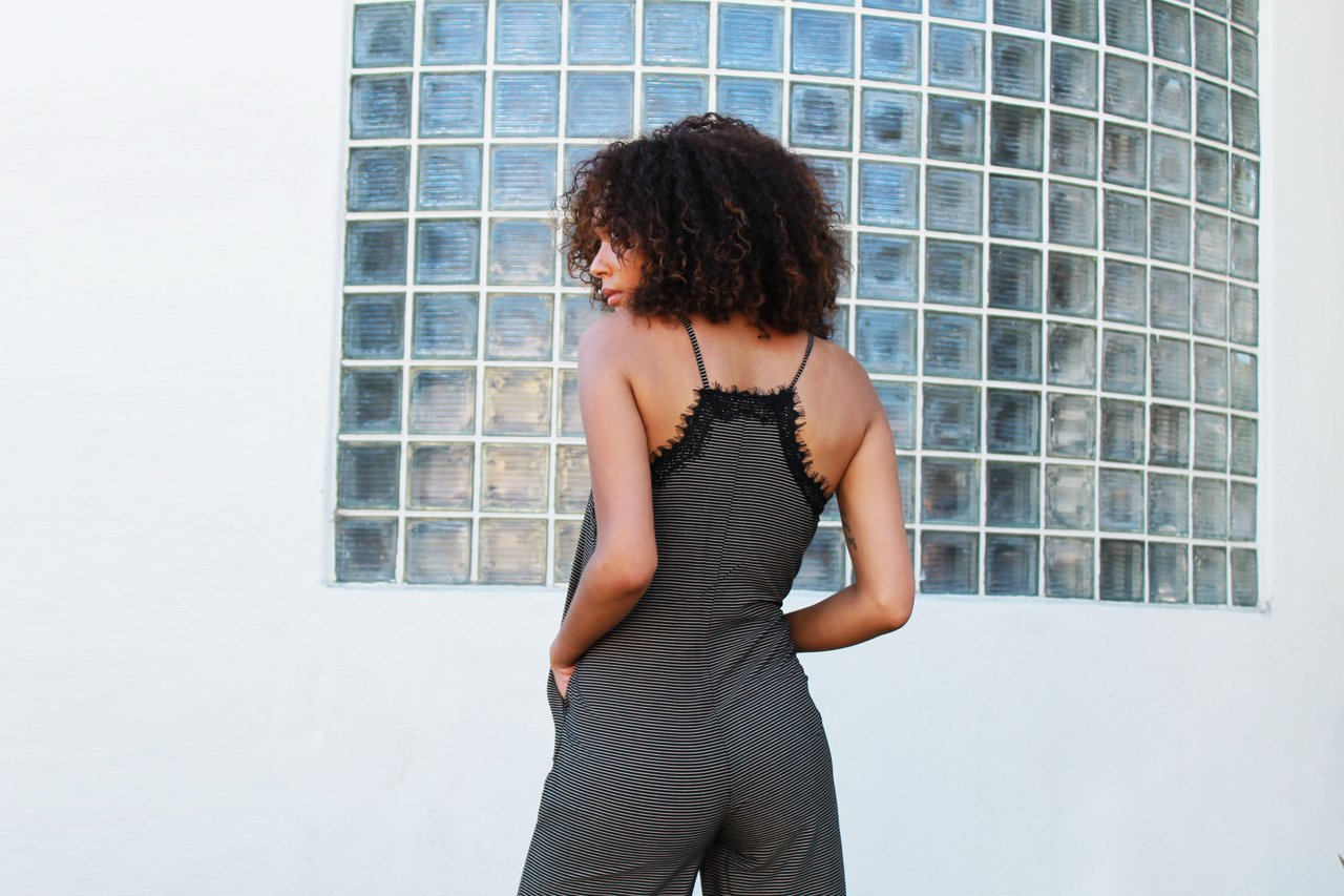 Jenah Playsuit From LIRA- Striped Jumpsuit with Lace Detail