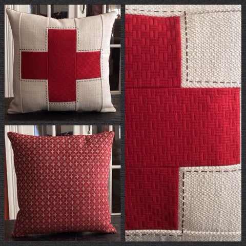"Custom designed ""Red Cross"" pillow"