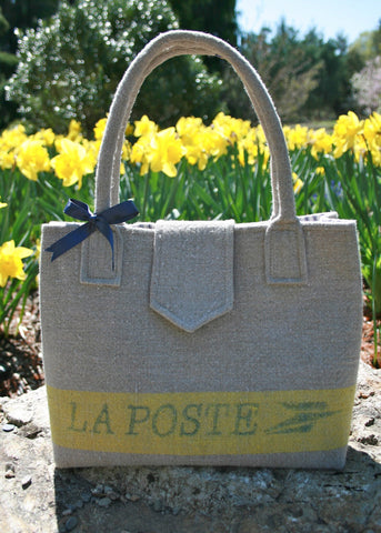 Handbag made from repurposed French linen air mail sack