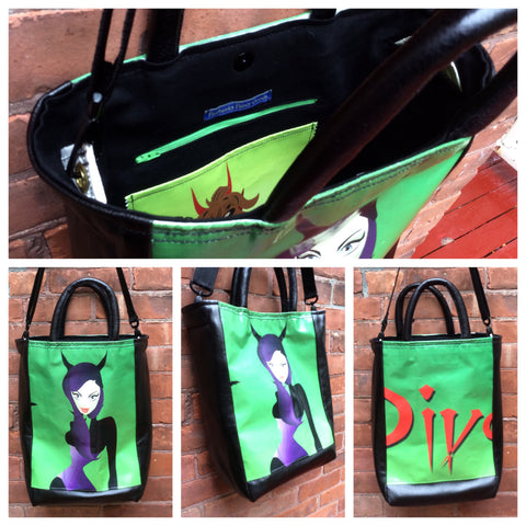 Custom tote bag from repurposed advertising banner