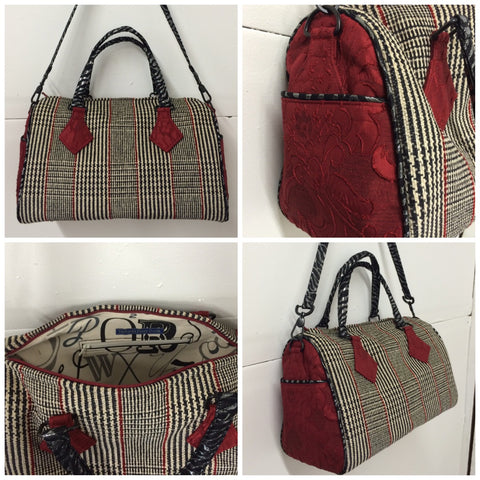 Custom wool and brocade handbag