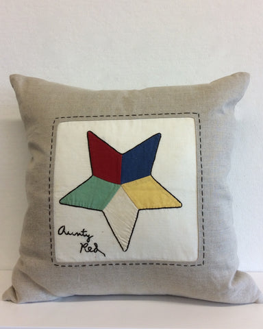 """Aunty Red"" Vintage Quilt Block Pillow"