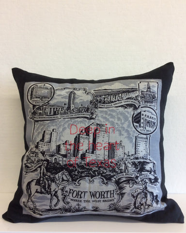 """Deep in the Heart of Texas"" embroidered pillow"
