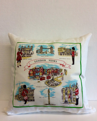 """Jolly Good"" London embroidered pillow"