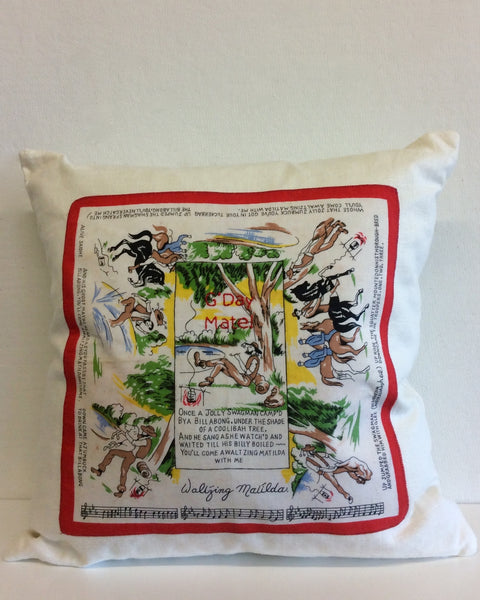 """Waltzing Matilda"" embroidered pillow"