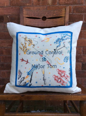 """Ground Control to Major Tom"" embroidered pillow"