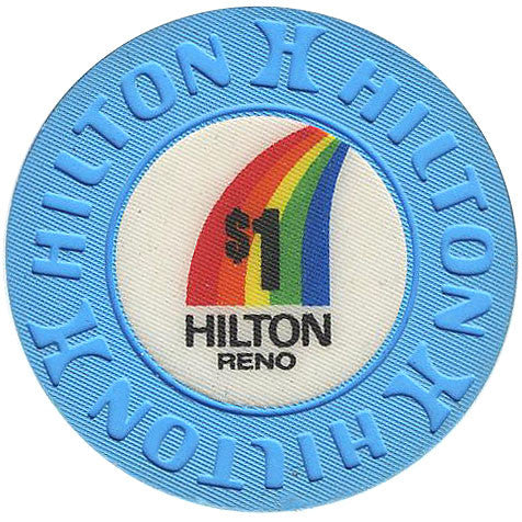 Reno Hilton $1(blue w/rainbow) chip - Spinettis Gaming - 1