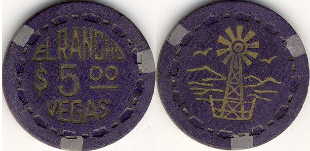 El Rancho Vegas $5 (Scrown) Hot Stamped Chip 1952 - Spinettis Gaming - 1
