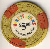 Honest John's $5 (yellow) chip - Spinettis Gaming - 2