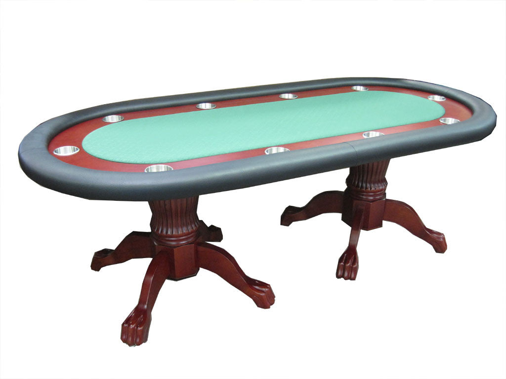 Wood Poker Table Top - Executive 92 jumbo drink holder poker table with wood race track with dining top