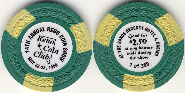 Sands Regency Casino Reno NV Coin Club $2.50 Chip 1999