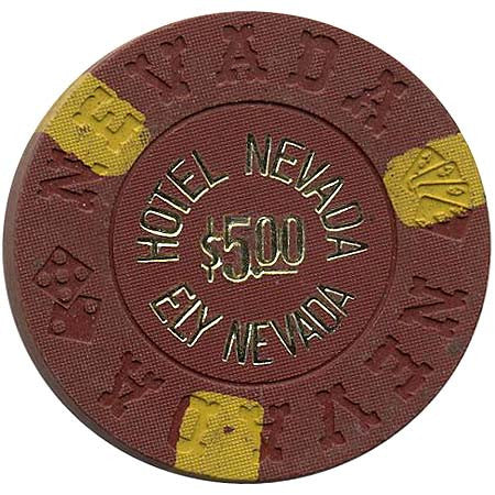 Hotel Nevada $5 brown (gold letters) chip