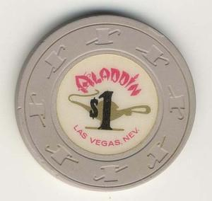 Aladdin Casino $1  (1970s) Beige Chip - Spinettis Gaming - 1