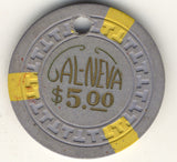 Cal-Neva Lodge Lake Tahoe $5 (3-yellow) canceled Chip - Spinettis Gaming - 1
