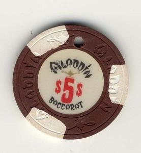 Aladdin Casino $5 (1980s) Baccarat Chip - Spinettis Gaming - 1