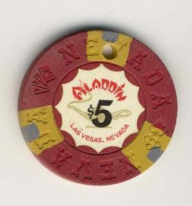 Aladdin Casino Las Vegas $5 Chip 1970 cancelled - Spinettis Gaming