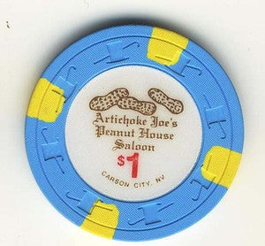 Artichoke Joes Casino Peanut house Saloon $1 Chip - Spinettis Gaming - 1