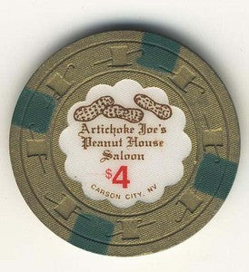 Artichoke Joes Casino Peanut house Saloon $4 Chip - Spinettis Gaming - 1