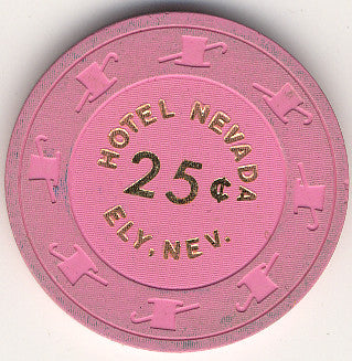 Hotel Nevada Casino 25cent (pink) chip 1987