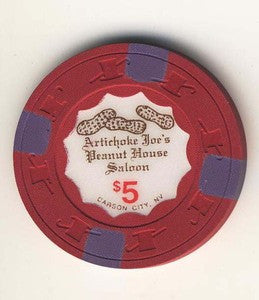Artichoke Joes Casino Peanut house Saloon $5 Chip - Spinettis Gaming - 1