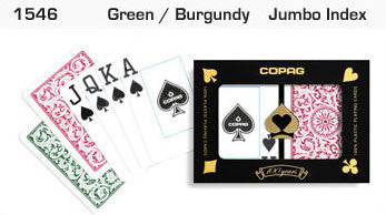 Copag 1546 Green/Burgundy Poker Size 2 deck setup