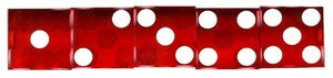 NEW RED CASINO DICE Precision Cut, Stick of 5 - Spinettis Gaming - 1