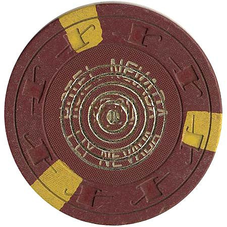 Hotel Nevada $5 brown (3-yellow inserts) chip