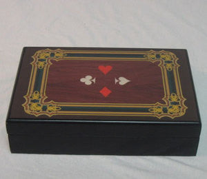 Card Case Box with 4 Suits Design for 2 Decks of Cards - Spinettis Gaming - 1