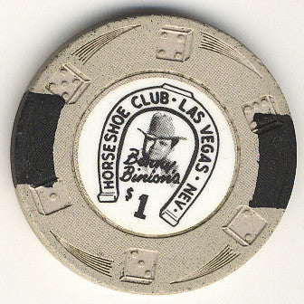 HorseShoe Club $1 (Lt. gray die swoosh) chip - Spinettis Gaming - 2