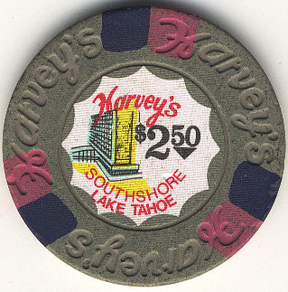 Harvey's Casino Lake Tahoe NV $2.50 Chip 1974