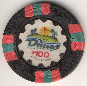 Dunes Casino $100 (golf course) chip (circulated)