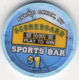 Scoreboard Sports Bar $1 (blue) chip - Spinettis Gaming - 2