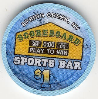 Scoreboard Sports Bar $1 (blue) chip - Spinettis Gaming - 1