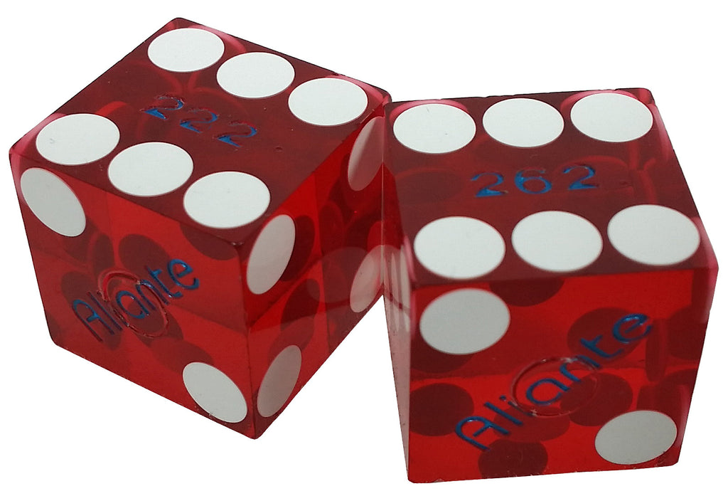 Aliante Used Casino Red Dice, One Pair