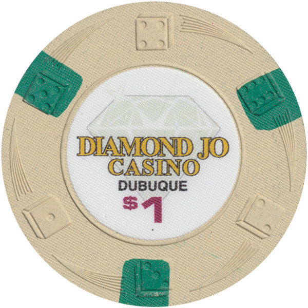 Diamond Jo Casino $1 100% Clay Chip Dice Swirl Chip Mold Dubuque Iowa Casino - Highly Collectible Chip
