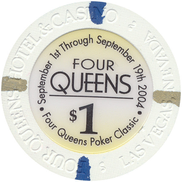 Four Queens (white chip), Las Vegas NV $1 Casino Chip - Spinettis Gaming