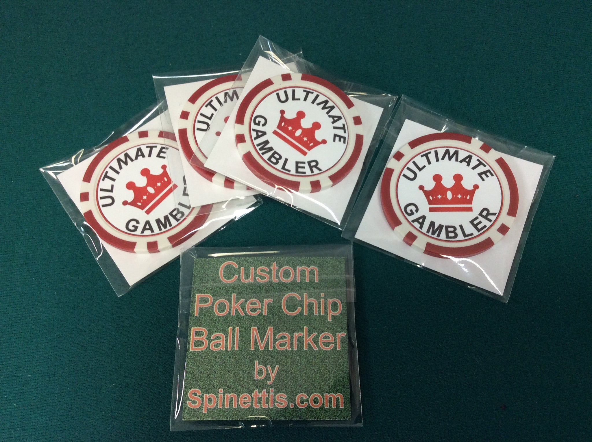 Custom Poker Chip Ball Marker for Golf (set of 5) - Spinettis Gaming - 1