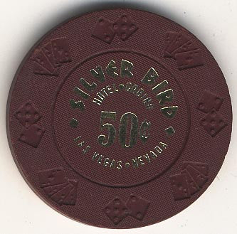 Silver Bird Hotel Casino 50cent (brown) chip 1980 - Spinettis Gaming