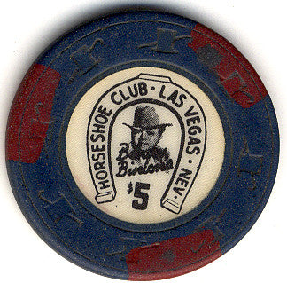 HorseShoe Club $5 blue (3-red inserts) chip - Spinettis Gaming - 2