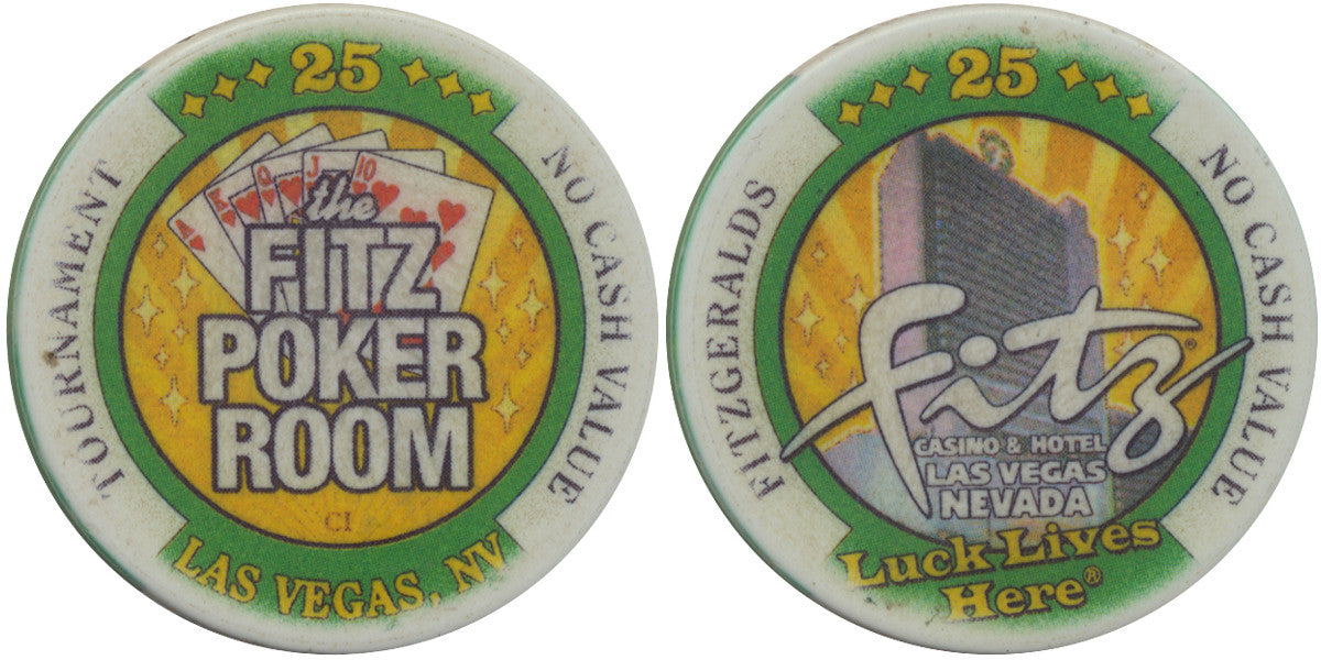 Fitzgeralds Casino Las Vegas 25 NCV (The Fitz Poker Room) Tournament Chip - Spinettis Gaming - 1