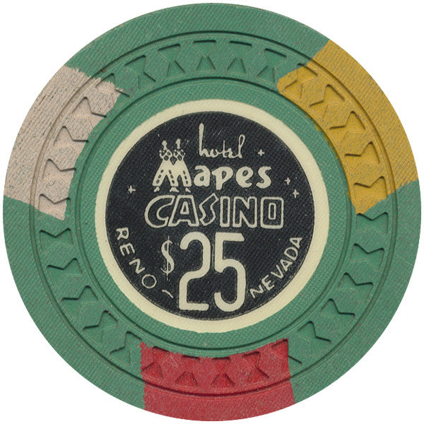 Mapes Casino $25 (green, hourglass mold) Chip