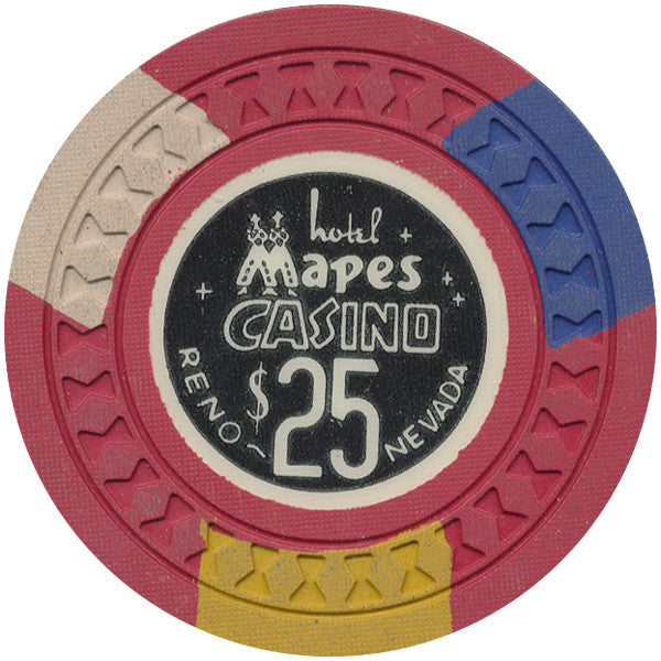 Mapes Casino $25 (red, hourglass mold) Chip