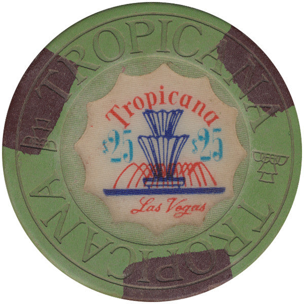 Tropicana $25 green (3-brown inserts) chip - Spinettis Gaming - 1