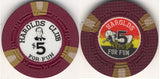 Harolds Club Reno $5 chip Pappy Smith #3 1965 - Spinettis Gaming