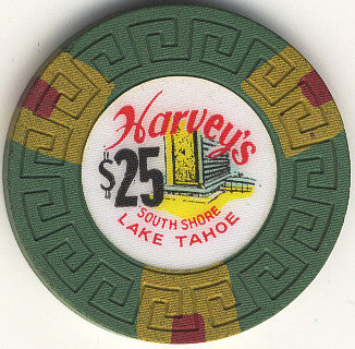 Harveys $25 Green (Large Key) chip - Spinettis Gaming - 1