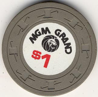 MGM Grand Casino $1 (gray) chip - Spinettis Gaming - 1