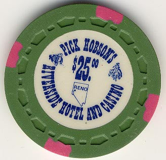 Riverside Pick Hobson's Casino Reno NV $25 Chip 1978