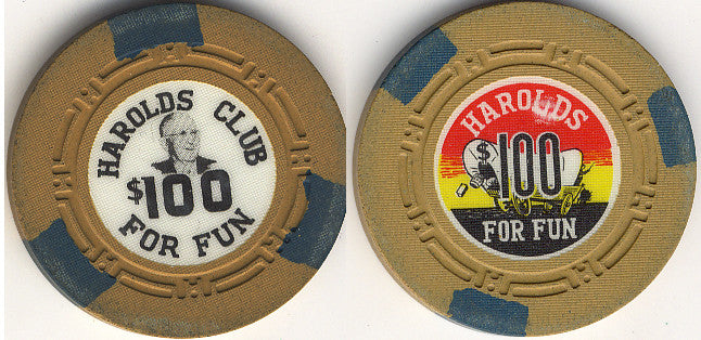 Harold's Club $100 (3-green inserts) Chip - Spinettis Gaming - 1