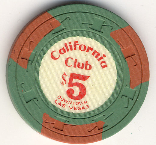 California Club $5 Green (3 brown inserts 1960s) Chip - Spinettis Gaming - 1